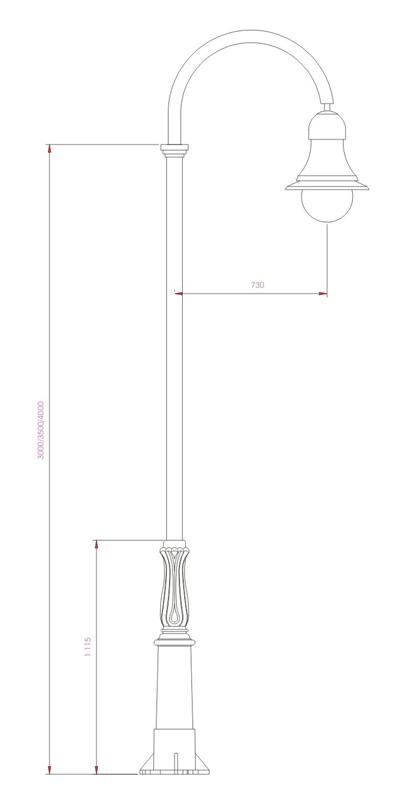 Columna Ochocentista tubo curvado esquema