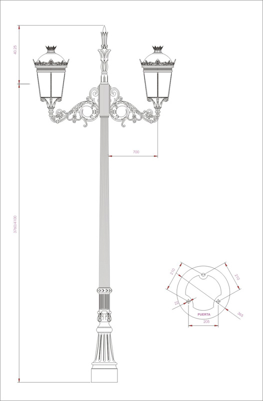 Columna Sancti Petri crucero Bailén esquema